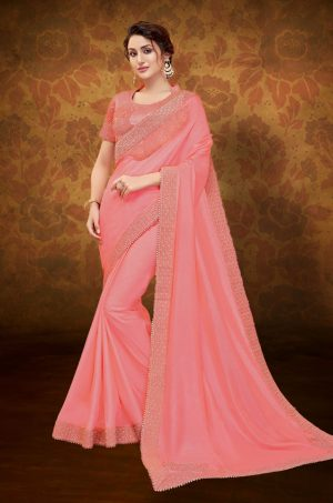 Traditional Saree With Desingner Blouse (With Embellished Border)-Pink