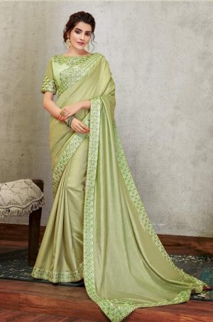 Traditional Saree With Desingner Blouse (With Embellished Border)-Pista Green
