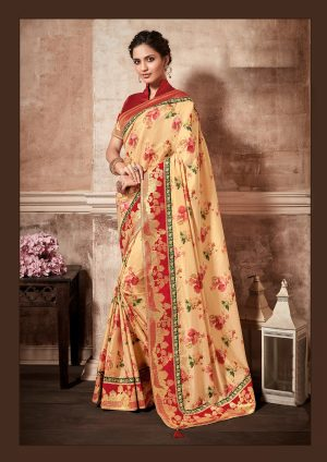 Traditional Saree With Desingner Contrast Blouse (With Embellished Border)-Yellow & Red