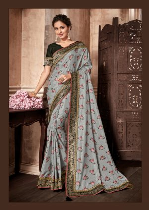 Traditional Saree With Desingner Contrast Blouse (With Embellished Border)-Black & Grey