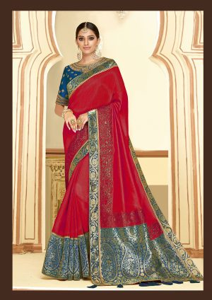 Traditional Saree With Desingner Contrast Blouse (With Embellished Border)-Maroon & Morepeach