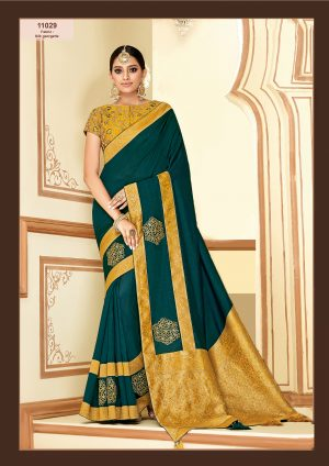 Traditional Saree With Desingner Contrast Blouse (With Embellished Border)-Teal Green & Musterd Yellow