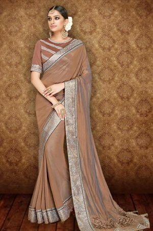 Traditional Saree With Desingner Blouse (With Embellished Border)-Musterd