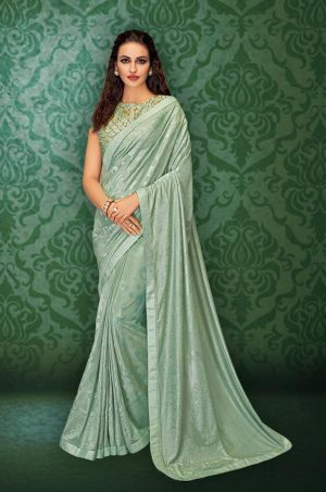 Party Wear Saree With Blouse ( With Embellished Border), Designer-Pastel Blue