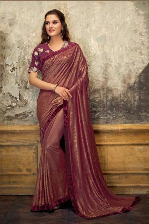 Party Wear Saree With Blouse ( With Velvet Border), Designer-Maroon