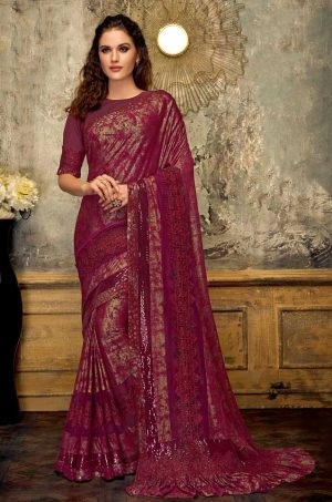 Party Wear Saree With Blouse ( With Embellished Border), Designer-Wine