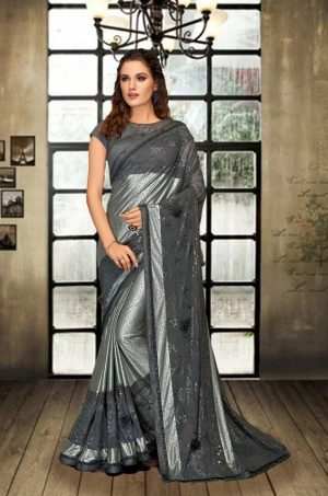 Party Wear Saree With Blouse ( With Embellished Border), Designer-Grey
