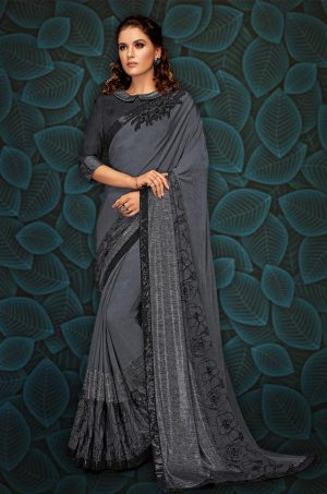 Party Wear Saree With Blouse ( With Embellished Border), Designer-Black & Grey