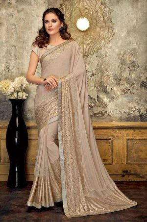 Party Wear Saree With Blouse ( With Embellished Border), Designer-Beige