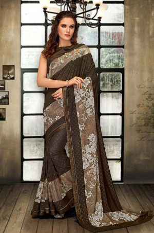 Party Wear Saree With Blouse ( With Embellished Border), Designer-Brown