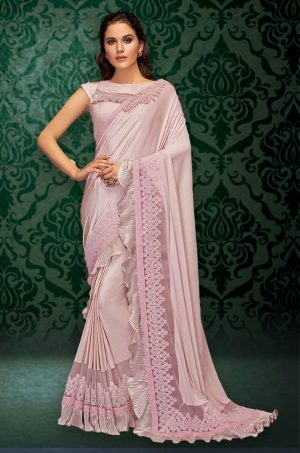 Party Wear Saree With Blouse ( With Embellished Border), Designer-Pink