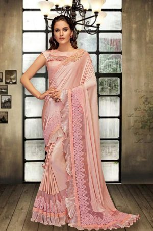 Party Wear Saree With Blouse ( With Embellished Border), Designer-Gajari