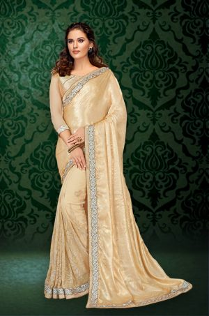 Party Wear Saree With Blouse ( With Embellished Border), Designer-Cream