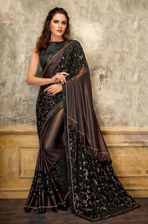 Party Wear Saree With Blouse ( With Embellished Border), Designer-Black & Brown