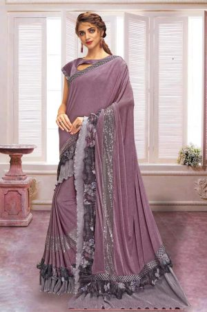 Party Wear Saree With Desingner Blouse ( With Embellished Border)-Purple