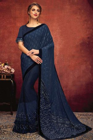 Party Wear Saree With Desingner Blouse ( With Embellished Border)-Blue
