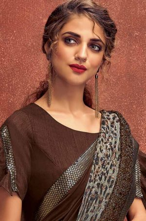 Party Wear Saree With Desingner Blouse ( With Embellished Border)-Brown