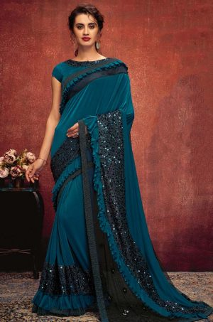 Party Wear Saree With Desingner Blouse ( With Embellished Border)-Peacock Blue