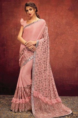 Party Wear Saree With Desingner Blouse ( With Embellished Border)-Peach