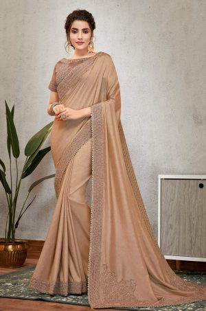 Traditional Saree With Desingner Blouse (With Embellished Border)-Brown