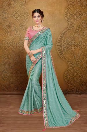 Traditional Saree With Desingner Contrast Blouse (With Embellished Border)-Pink & Blue
