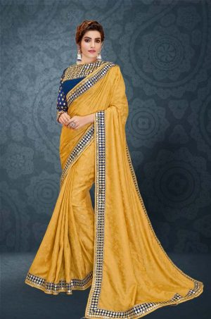 Traditional Saree With Desingner Contrast Blouse (With Embellished Border)-Yellow & Blue