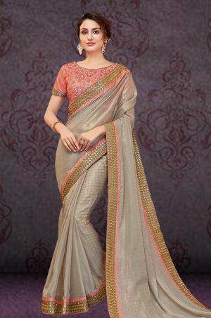 Traditional Saree With Desingner Contrast Blouse (With Embellished Border)-Peach & Grey