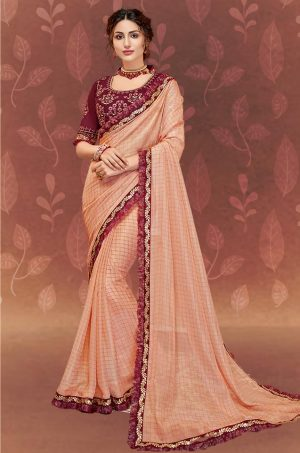 Traditional Saree With Desingner Contrast Blouse (With Embellished Border)-Peach & Maroon