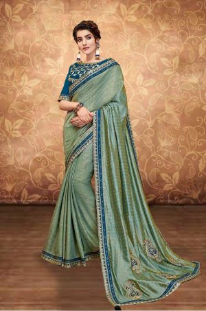 Traditional Saree With Desingner Contrast Blouse (With Embellished Border)-Blue