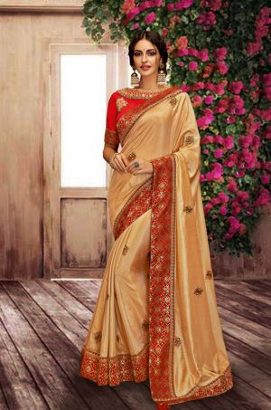Traditional Silk Saree With Contrast Blouse (With Embellished Border),-Yellow & Red