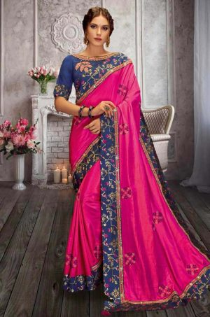 Traditional Silk Saree With Contrast Blouse (With Embellished Border),-Blue & Magenta