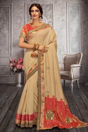 Traditional Silk Saree With Contrast Blouse (With Embellished Border),-Red & Cream