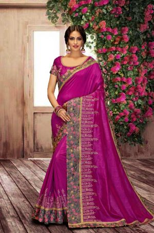 Traditional Silk Saree With Contrast Blouse (With Embellished Border),-Wine