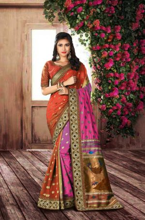 Traditional Silk Saree With Contrast Blouse (With Embellished Border),-Rani & Orange