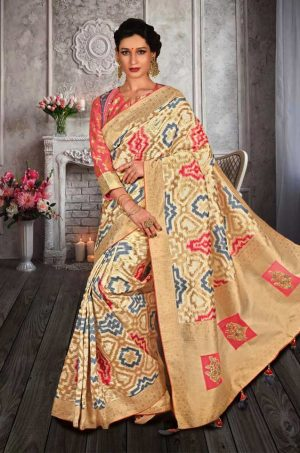 Traditional Banarasi Silk Saree With Contrast Blouse (With Embellished Border),-Cream,Pink & Grey