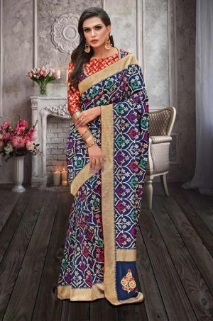 Traditional Banarasi Silk Saree With Contrast Blouse (With Embellished Border),-Blue & Red