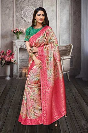 Traditional Banarasi Silk Saree With Contrast Blouse (With Embellished Border),-Pink & Green