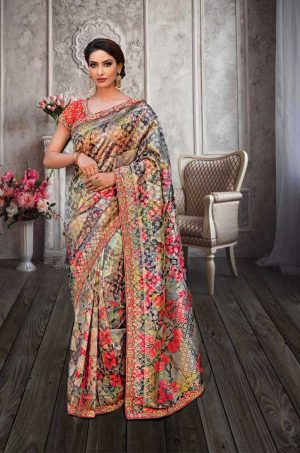 Traditional Banarasi Printed Silk Saree With Contrast Blouse (With Embellished Border),-Black & Orange
