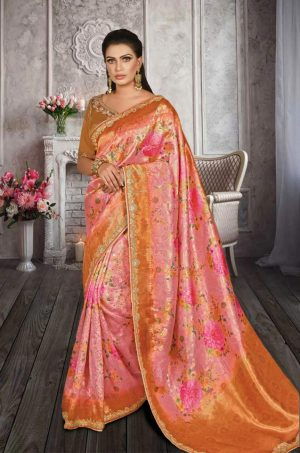 Traditional Banarasi Printed Silk Saree With Contrast Blouse (With Embellished Border),-Orange & Pink