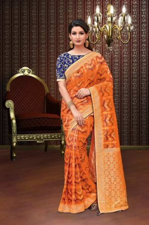 Traditional Banarasi Silk Saree With Contrast Blouse (With Embellished Border),-Orange & Blue