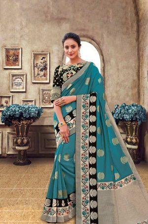 Traditional Banarasi Silk Saree With Contrast Blouse (With Embellished Border),-Black & Rama