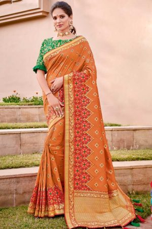Traditional Banarasi Silk Saree With Contrast Blouse (With Embellished Border),-Red,Musterd & Green