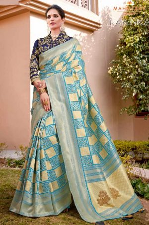 Traditional Banarasi Silk Saree With Contrast Blouse (With Embellished Border),-Cream & Blue