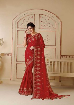 Party Wear Zari Sequence Work, Embroidery Zari Border, Zari Work Border, Gota Fabric Piping-Red