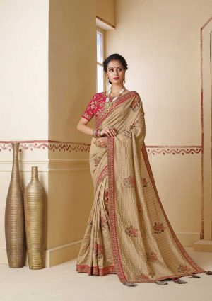 Party Wear Embroidery Zari Border, Rawsilk Embroidered border, Zari Work Border, Gota Fabric Piping-Ginger Brown