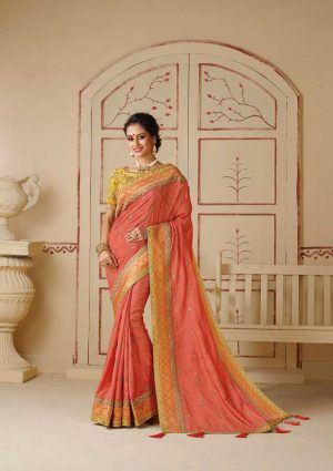 Praty Wear Resham thread work, Embroidery Blouse, Embroidery Zari Border, Zari Work Border, Gota Fabric Piping-Peach