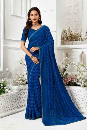 Laxmipati Georgette Royal Blue Saree