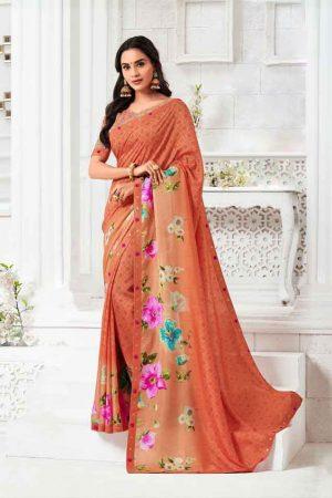 Laxmipati Silk Touch Peach Saree