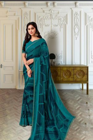 Laxmipati Jute Georgette with Jacquard Patti Rama Green Saree