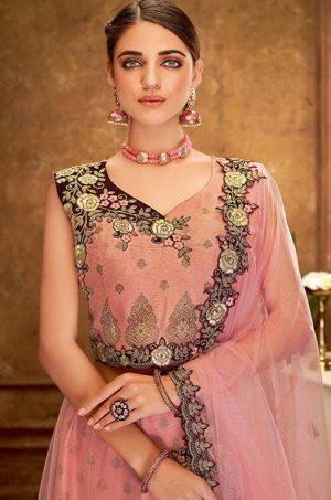 Desingner Ethnic Wear Lehengas, Weaved Silk & Net Fabrics- Peach colour